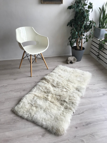 Thick Wooly White Sheepskin Bed Runner