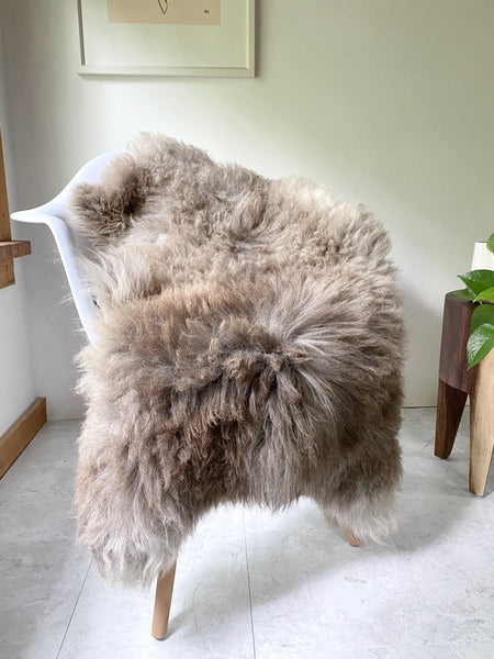 Grey and Light Brown Longhair Sheepskin