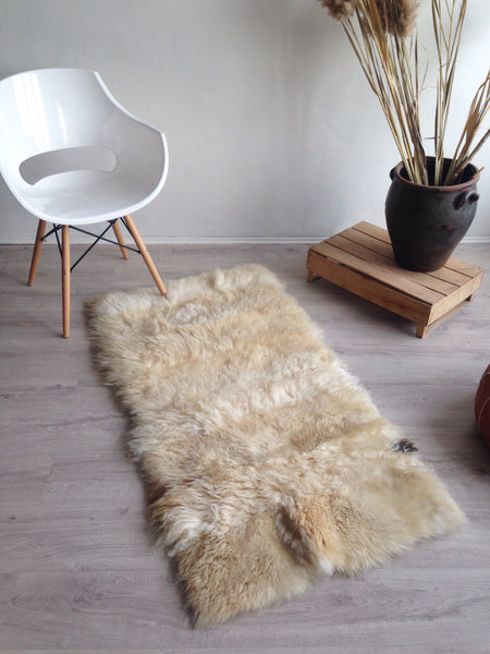Plush Golden White Patchwork Rug