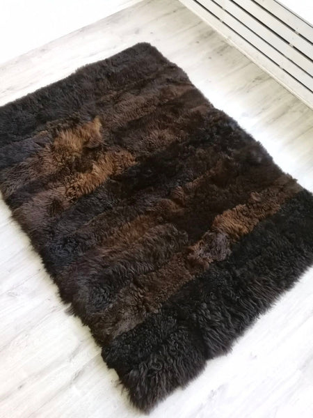 Large brown sheepskin rug