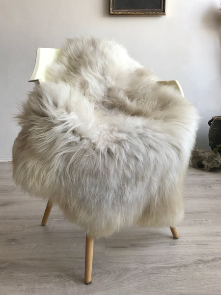 Linen Ivory and Light Grey Sheepskin