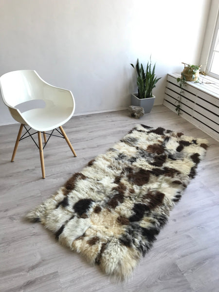 XL Brown and Ivory Sheepskin Runner