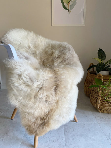 Linen and Ivory Plush Sheepskin