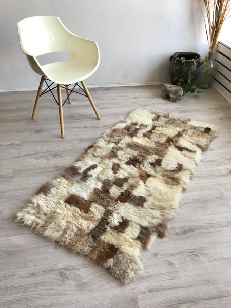 Beige and Brown Patchwork Sheepskin Rug