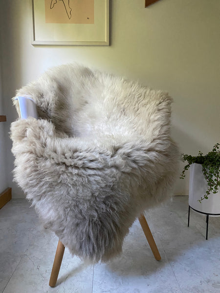 Ivory Grey with Dark Grey Roots Sheepskin