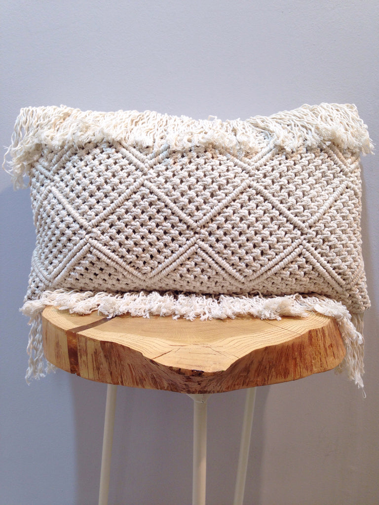 macrame lumbar pillow