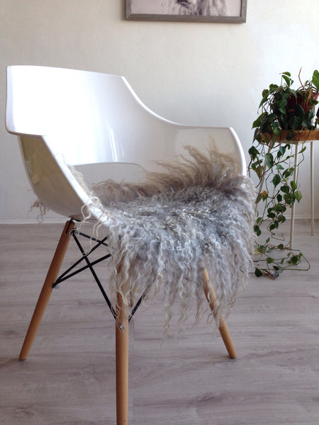 Felted Wool Chair Pad in Light Grey