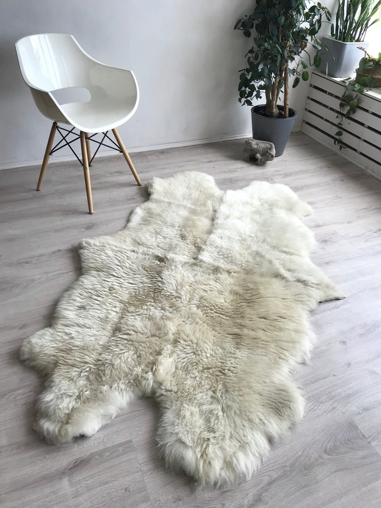 Quad Ivory and Light Beige Plush Sheepskin