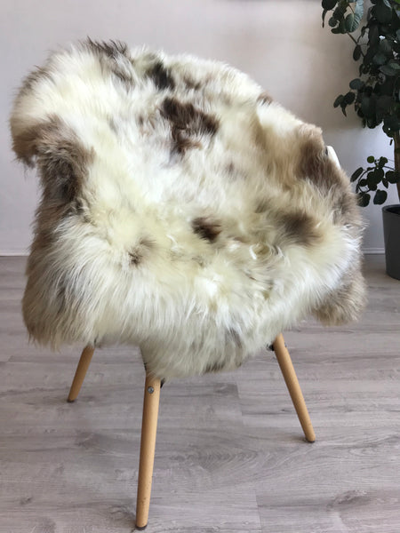 Silky Soft Ivory and Brown Sheepskin