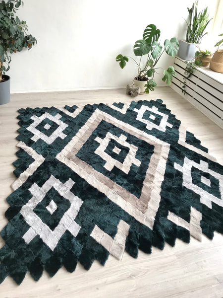Sheepskin Geometric Patchwork Rug