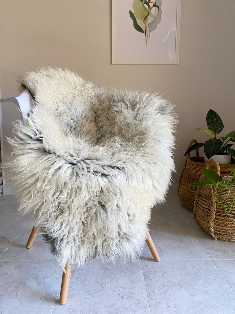 Longhair Boho Sheepskin with Grey Roots