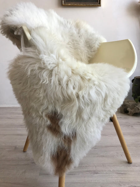 White with Brown Spots Sheepskin