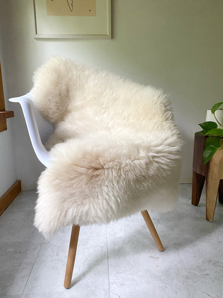 Plush Ivory Sheepskin with Beige Spot