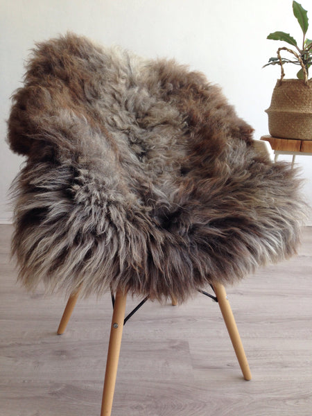 Mixed Brown and Grey Plush Sheepskin