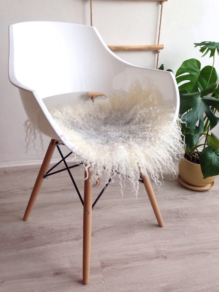 Felted Wool Chair Pad in White / Grey