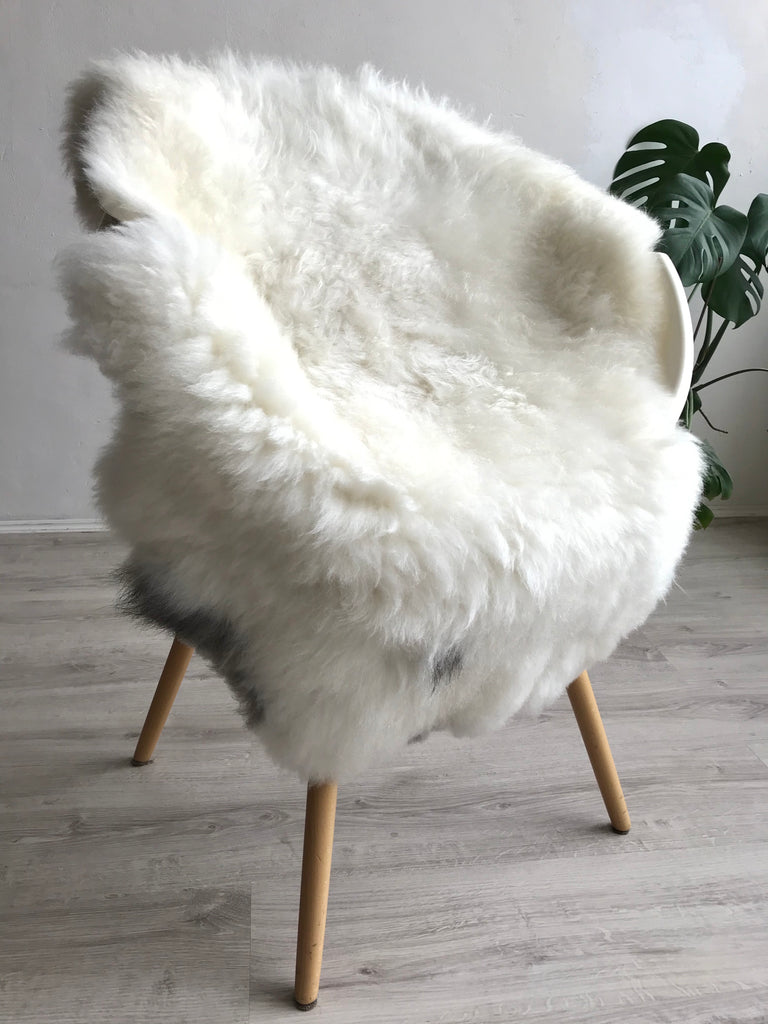 Plush White Sheepskin with Black Spot