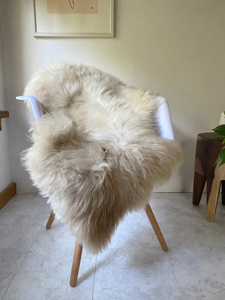 Ivory and Beige Sheepskin with Glossy Shine