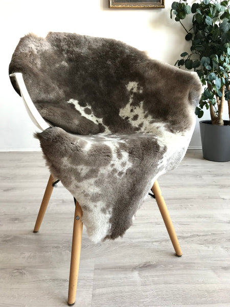 Brown and White Sheared Sheepskin