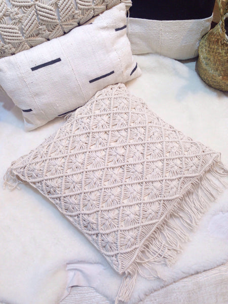 Macrame cushion in boho decor