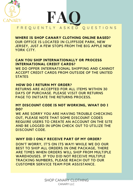 Frequently Asked Questions Shop Canary Clothing Canary LLC