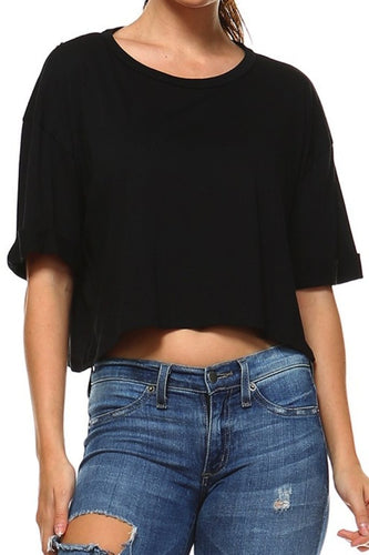 Black Cuff Sleeve Crop Top - SHOP CANARY CLOTHING