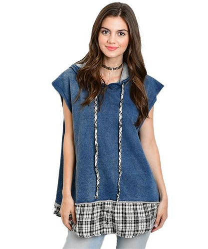 Retro Denim oversized vest features plaid trim and drawstring detail - Shop Canary Clothing