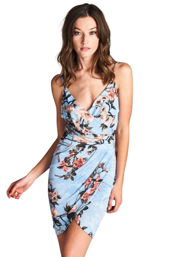 Look like an angel with this heavenly sleeveless blue floral print dress. Perfect for a summer brunch. This beautiful floral print sundress needs to be seen. Pair this beauty with some ankle strap heels, sandals or your favorite nude pumps. - Shop Canary Clothing