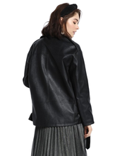 Rad Black Faux Leather Oversized Moto Biker Jacket with silver detailed zippers - Shop Canary Clothing