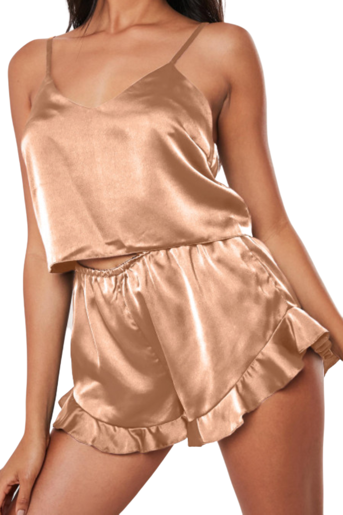 Peach Apricot Color Sleep Tight Satin Camisole Pajamas Set Shop Canary Clothing