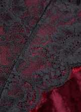 Red Velvet Lace Mesh Stitching Sexy Bodysuit Shop Canary Clothing