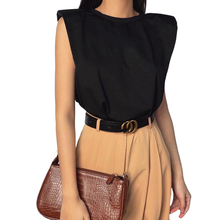 Black Sleeveless Shoulder Pad T-shirt - Shop Canary Clothing
