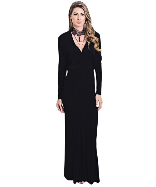 Simple long black curve hugging dress with long dolman sleeves and v-neckline - Shop Canary Clothing