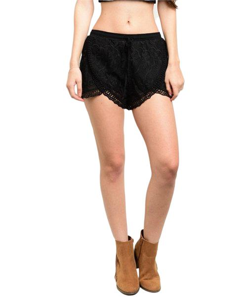Black crochet shorts feature full lining, a gathered waistline and a scalloped trim - Shop Canary Clothing