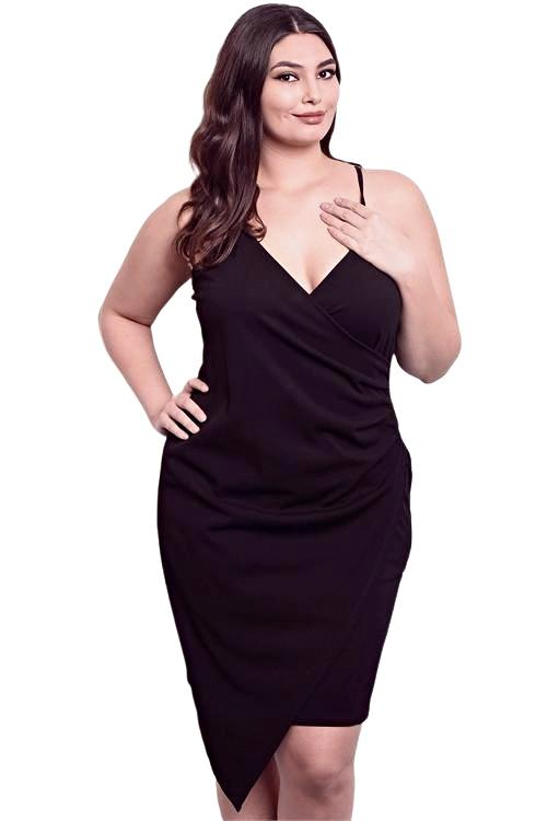 Sophisticated plus size v-neck black sleeveless bodycon dress. Perfect for a night out  - Shop Canary Clothing