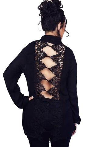 Black long sleeve backless button up top features a crochet back. - Shop Canary Clothing