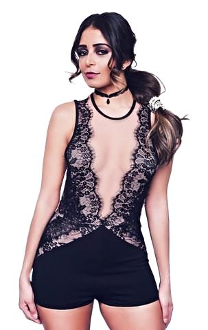 This sexy sleeveless romper features an illusion mesh detail on center front, eyelash lace accents on bodice and solid opaque shorts - Shop Canary Clothing