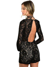 Black lace long sleeve romper, full lined and sweetheart neckline - Shop Canary Clothing