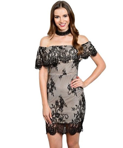 Short off the shoulder sleeve all over lace dress - Shop Canary Clothing