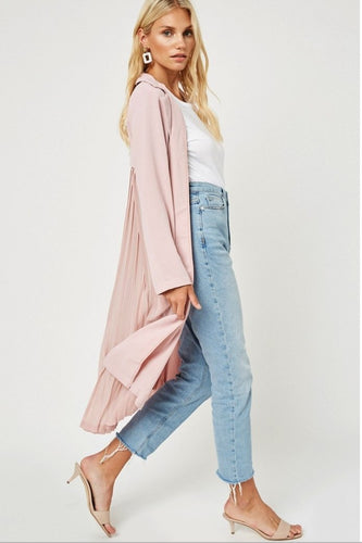 Pink Pleated Duster Jacket - Shop Canary Clothing