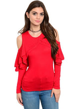 Red ruffle Off the Shoulder long sleeve top - Shop Canary Clothing