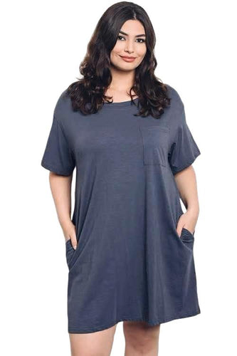 Gray Plussize comfortable short sleeve pocket tshirt dress - Shop Canary Clothing