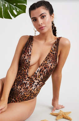 Feline Leopard Print One Piece Swimsuit - SHOP CANARY CLOTHING