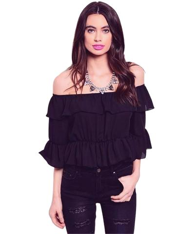 Lupita Off The Shoulders Ruffle Black Top - Shop Canary Clothing