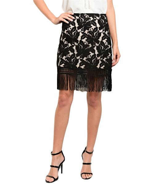 Sophisticated beige and black lace skirt with fringe trim semi lining - Shop Canary Clothing