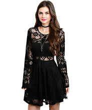 Black lace dress features partial lining, round neckline and bell sleeves - Shop Canary Clothing