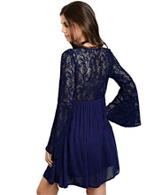 Straight out of a fairytale. Swing fit fully ling navy blue dress with long bell sleeves - Shop Canary Clothing