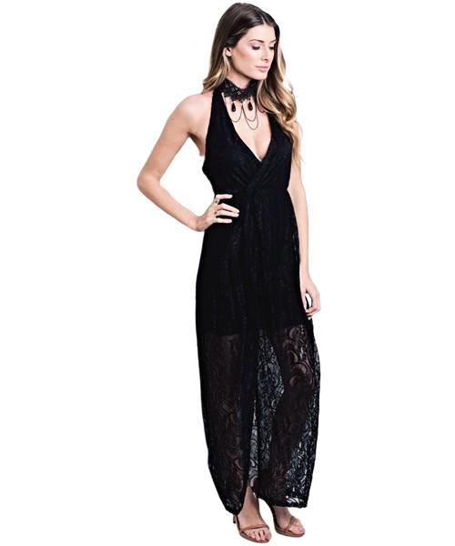 This sleeveless mini dress features long black lace sheer cover  up with a plunging neckline - Shop Canary Clothing