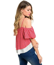 Red and White polka dot off the shoulders top - Shop Canary Clothing