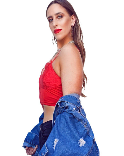This adjustable strap red lace crop top features a scooped neckline and a cropped fit. - Shop Canary Clothing