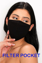 Unisex Fabric reusable and washable plain black face mask with filter pocket - Shop Canary Clothing